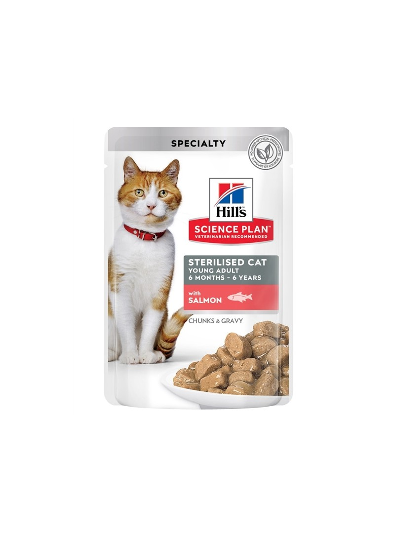 HILLS SCIENCE PLAN CAT YOUNG ADULT STERILISED SALMON - SAQUETA - 85gr - HSQ69