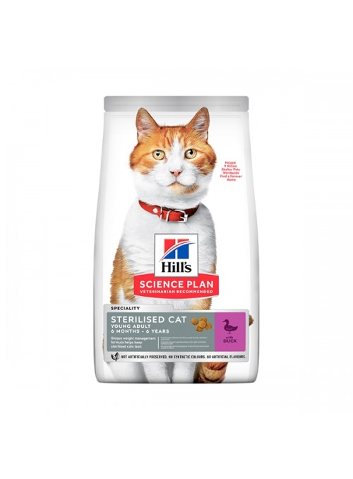 HILLS SCIENCE PLAN CAT YOUNG ADULT STERILISED DUCK - 3kg - H605253